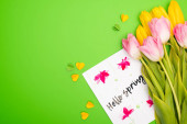 Top view of yellow and pink tulips, card with hello spring lettering and decorative hearts on green background