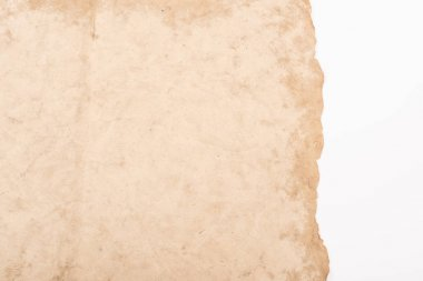 Top view of vintage empty aged paper isolated on white stock vector