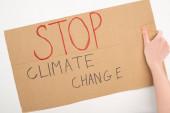 Ausgeschnittene Ansicht einer Frau mit Plakat mit Stop-Klimawandel-Schriftzug auf weißem Hintergrund, Konzept der globalen Erwärmung