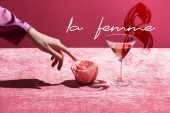 cropped view of woman touching rose near glass with drink on velour cloth isolated on pink, la femme and 8 march illustration