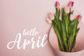 Photo top view of tulips wrapped in paper on pink background, hello April illustration