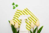 vrchní pohled na jarní tulipány a zelené čistící prostředky se srdcem na bílém pozadí