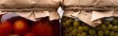 Nahaufnahme von hausgemachten leckeren Dosentomaten und grünen Erbsen in Gläsern, Panoramaaufnahme