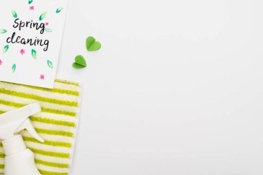 Top view of green cleaning supplies with hearts near spring cleaning card on white background stock vector