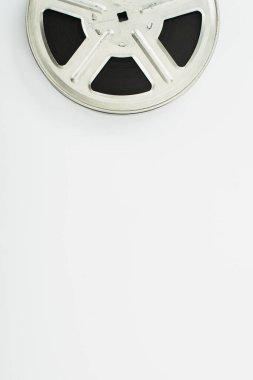 Top view of old film reel on white background stock vector