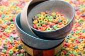 delicious bright colorful breakfast cereal in bowls