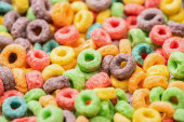 close up view of bright multicolored breakfast cereal