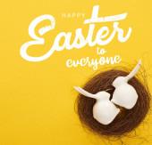 Fotografie von oben Ansicht der weißen Osterhasen Figuren im Nest auf bunten gelben Hintergrund mit frohen Ostern für alle Illustration