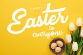 horní pohled na tulipány a kuřecí vejce v hnízdě na barevném žlutém pozadí s veselými Velikonoce všem ilustrace