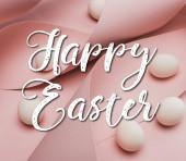 Fotografie Hühnereier in Spiralpapier rosa Wirbel mit frohen Ostern Illustration