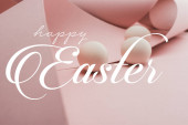 Hühnereier in Spiralpapier rosa Wirbel mit frohen Ostern Illustration