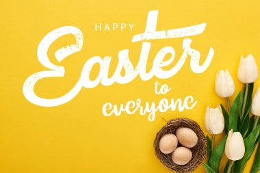 Top view of tulips and chicken eggs in nest on colorful yellow background with happy Easter to everyone illustration stock vector