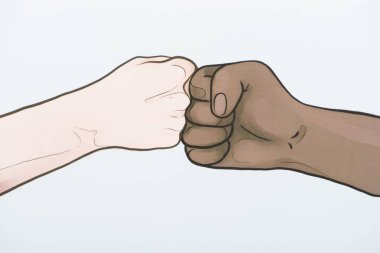 Picture with drawn multiethnic hands doing fist bump stock vector