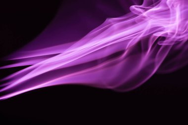 Purple colorful flowing smoke on black background stock vector