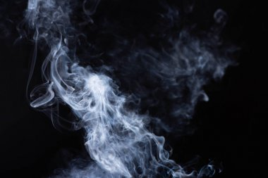 abstract white flowing smoke clouds on black background