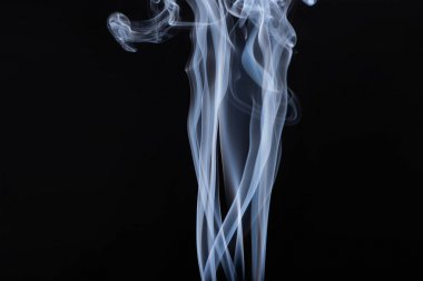 Abstract white flowing smoke on black background stock vector