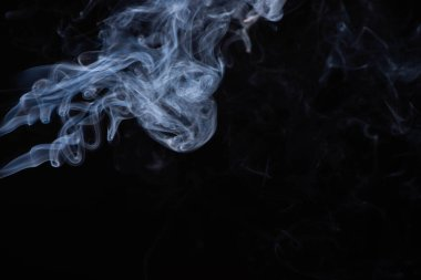 White flowing smoke cloud on black background with copy space stock vector
