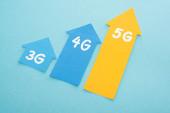 Fotografie 3g, 4g und 5g Pfeile auf blauem Hintergrund