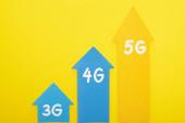 Draufsicht auf 3g, 4g und 5g Pfeile auf gelbem Hintergrund