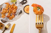 collage of fried shrimps on parchment paper on wooden board near grilled lemon, sauce and cutlery on white background