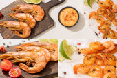 Photo collage of fried shrimps on parchment paper on wooden board with cherry tomatoes, sauce and lime on white background