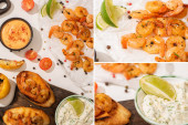 collage of fried shrimps canape and sauce on white background