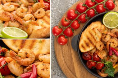 Collage of fried shrimps with grilled toasts, vegetables, cherry tomatoes and lime on wooden board on grey concrete background stock vector