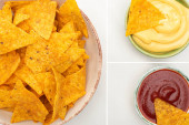 collage of corn nachos with sauces on white background