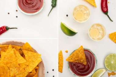 collage of corn nachos with lime, chili, ketchup and tequila on white background
