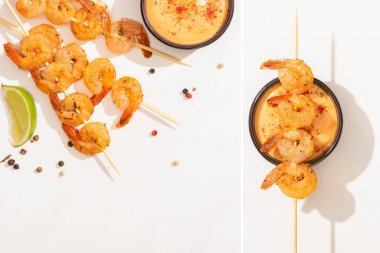 Collage of delicious fried prawns on skewers with sauce, lime and pepper on white background stock vector