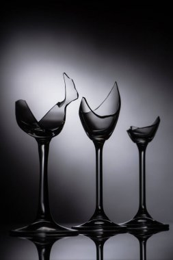 Broken sharp transparent glasses in dark stock vector