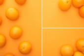 kollázs érett lédús egész narancs színes háttér másolási hely