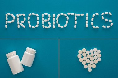 Collage of probiotics lettering, heart made of pills and containers on blue background stock vector
