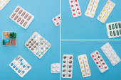 collage of colorful pills in blister packs and plastic container on blue background