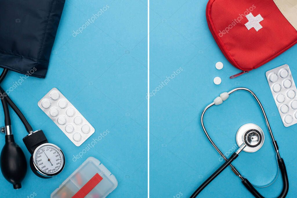 Collage of pills in blister packs, sphygmomanometer, first aid kit and stethoscope on blue background stock vector