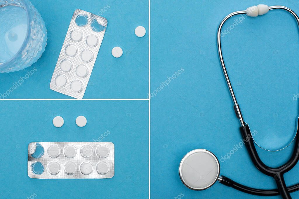 Collage of pills in blister packs, glass of water and stethoscope on blue background stock vector