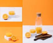 koláž čerstvé pomerančové šťávy ve skle a láhvi v blízkosti řezaného ovoce na dřevěné řezací desce s nožem na bílém povrchu izolované na oranžové