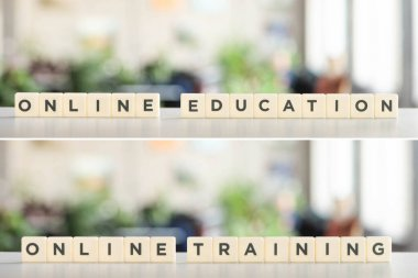 collage of white cubes with online education and online training lettering on white surface