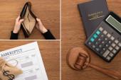 koláž kalkulačky, konkurzní zákon, dokument, peněženka, kladívko, ženské ruce s prázdnou peněženkou na dřevěném pozadí