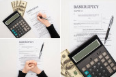 ořezaný pohled na ženu vyplňující konkurzní formulář perem v blízkosti peněz a kalkulačka na bílém pozadí, koláž