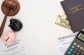 shora pohled na bankrotní papíry a právní knihy, kladívko, prasátka banky, peníze a kalkulačka na bílém pozadí, koláž