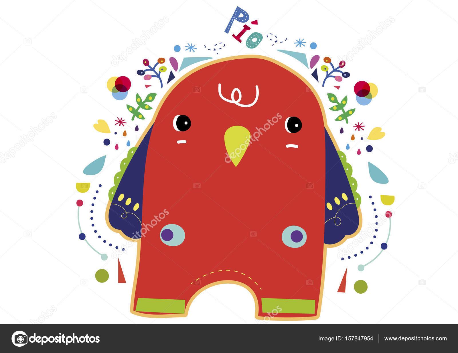 sala de ilustración de flores lindo pájaro rojo niños animales ...