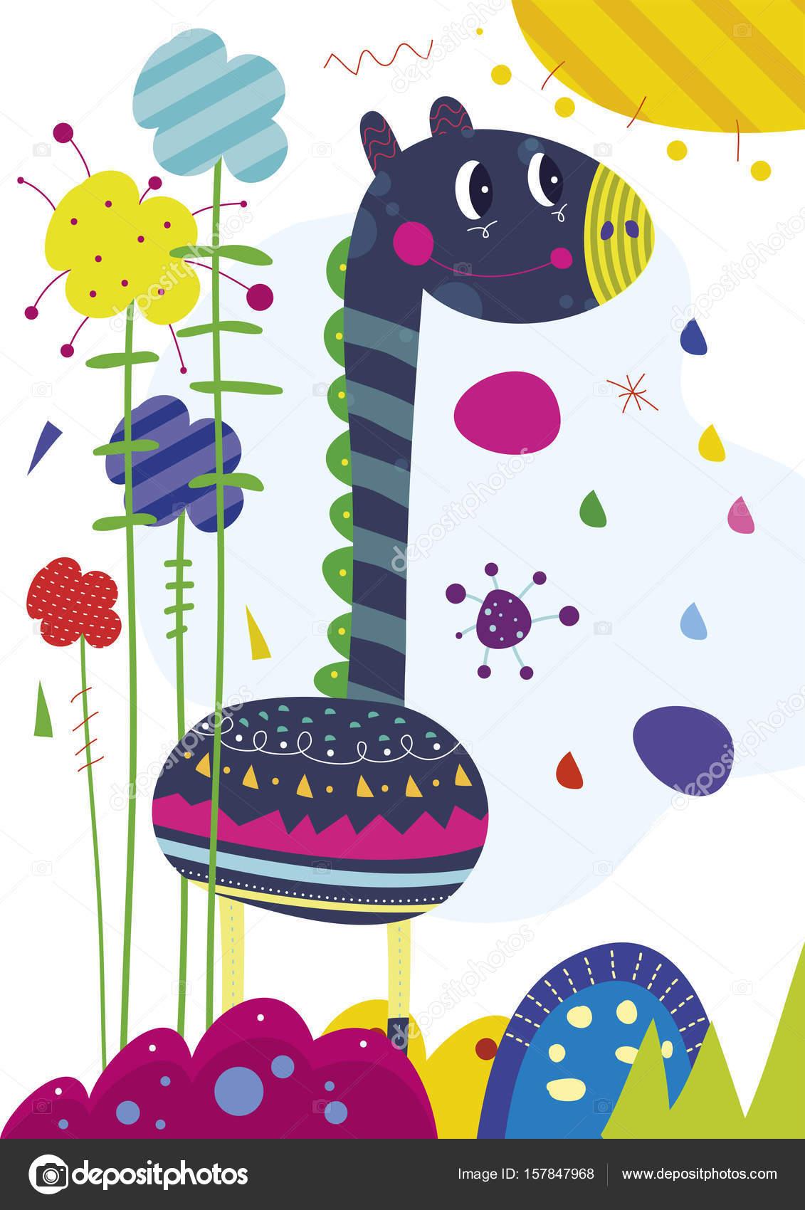 cartel de jirafa ilustración divertida niños sol habitación para ...