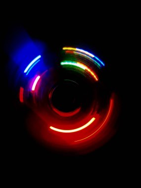 Colorful circle light wave  in dark background