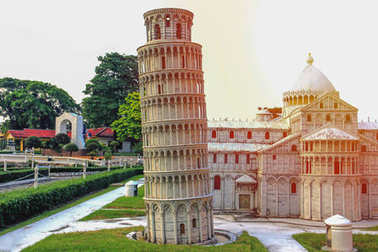 Leaning Tower of Pisa replica with sunrise