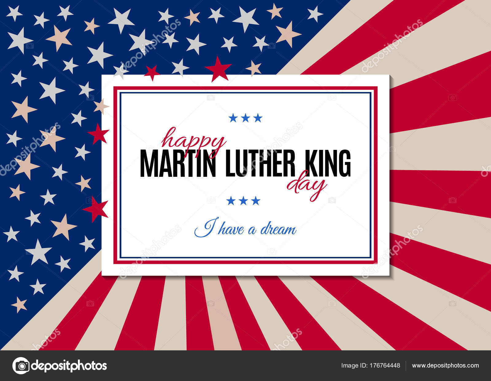Happy Martin Luther King Day Placard Poster Greeting Card Text