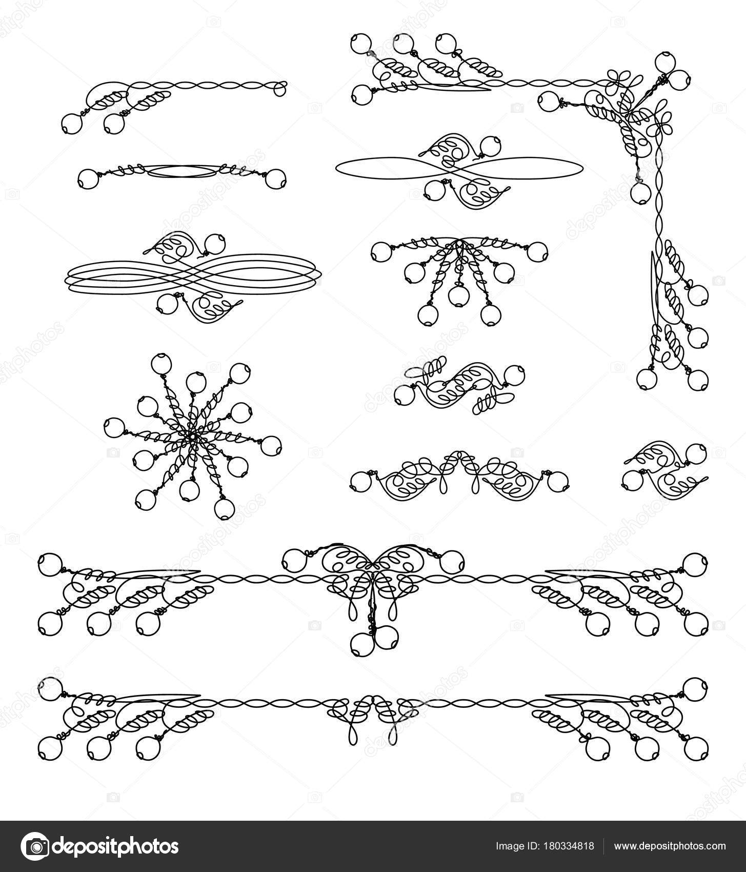 Vintage Frame Scroll Graphic Elements Set Classical Page Decorations ...