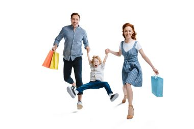 Young family shopping together