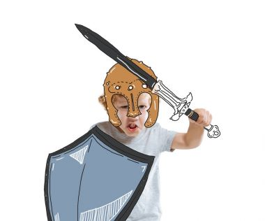 Little boy warrior with drawn shield and sword, isolated on white stock vector