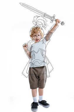 Little boy warrior in drawn armor holding sword, isolated on white stock vector